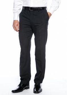 Louis Raphael Black Straight Fit Flat Front Dress Pants