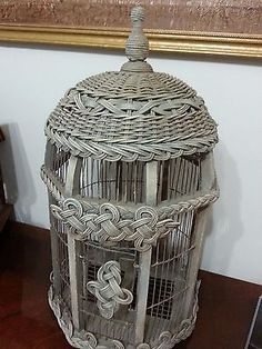 Vintage Wood and Rattan Decorative Bird Cage