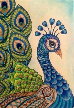 Pin on 1 peacock art/ill. Peacock Drawing, Peacock Painting, Peacock Art, Mural Painting, Peacock Colors, Peacock Design, Doodle Art Drawing, Mandala Drawing, Art Drawings Sketches