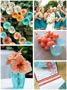 This coral and teal inspiration board from Miss Crafty Bride is perfect for summer! Check out her post over at It's a Bride's Life here...