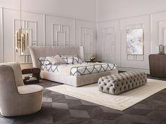 Fabric double bed with high headboard VANITY by Casamilano