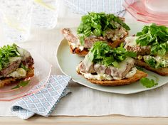 Open-Faced Tuna Sandwiches with Arugula and Sweet-Pickle Mayonnaise recipe from Giada De Laurentiis via Food Network