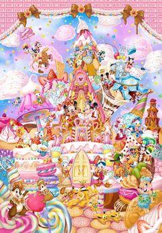 Tenyo Japan Jigsaw Puzzle DP-1000-024 Mickey's Sweet Kingdom (1000 Pieces) (694×1000) Disney Art, Disney Pixar, Cute Disney, Disney And Dreamworks, Disney Magic, Mickey Mouse Wallpaper, Disney Phone Wallpaper, Mickey Mouse And Friends, Mickey Minnie Mouse