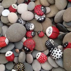 Bug Crafts, Fall Crafts, Crafts For Kids, Arts And Crafts, Pebble Painting, Pebble Art, Stone Painting, Ladybug Rocks, Rock Cactus
