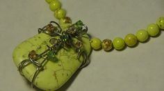 Lime Green Agate Necklace Cross Necklace by LeTreasurelat on Etsy