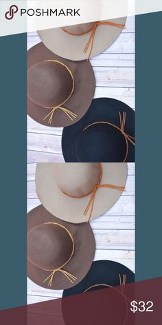 "🎀New Arrival🎀 Star Gazing Hats New Arrival Star Gazing Hats in brown, black, and tan.  -Faux leather strap accent wool dress hat -3.5"" brim -7"" inside diameter -100% wool Blackberry Boutique Accessories Hats"
