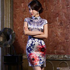chinese clothing red silk short dress            https://www.ichinesedress.com/