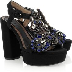 Marni Embellished crepe-covered platform sandals ($415) ❤ liked on Polyvore