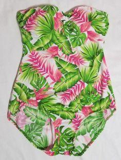 557825b05557c Jantzen Classics Strapless Pink Green Floral Leaf Bathing Suit One Piece 10