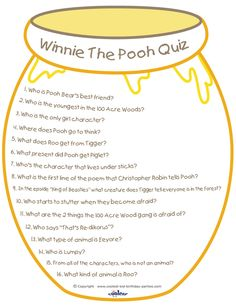 Here's a great printable Winnie the Pooh quiz you can use at a party or just for fun. Click on the Download button, a new page will open with both the...
