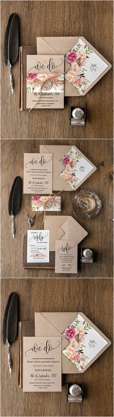 Rustic country peach and pink & kraft paper wedding invitations #rusticwedding #countrywedding #weddinginvites