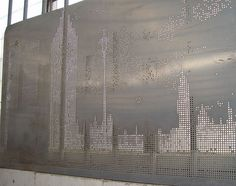 perforated metal Sun Screen By by Perforated Metal Design, via… Wire Mesh Screen, Metal Screen, Mall Facade, Metal Cladding, Laser Cut Patterns, Floor Wallpaper, Decorative Screens, Perforated Metal, Grill Design