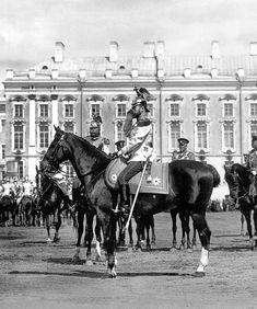 Tsar Nicholas II reviewing Life Guards outside the Catherine Palace, Tsarskoe Selo, 1911