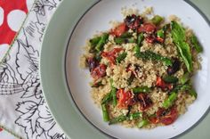 quinoa with oven roasted tomatoes + grilled asparagus -- gluten free + dairy free
