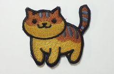 Princess  standing- Neko Atsume Sew On Machine Embroidered Patch, orange tabby with gray stripes by JuliefooStitches on Etsy https://www.etsy.com/listing/270620357/princess-standing-neko-atsume-sew-on