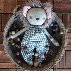 Leopold Blue eyes  OOAK Lion Heirloom Cloth by PeanutAndElliott