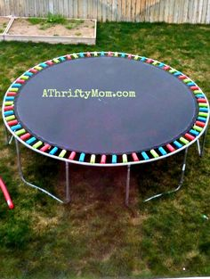 replace a worn out trampoline safety pad with pool noodles ~ Easy DIY,  #trampoline,#diy, #poolnoodles, #homeimprovement