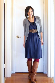 Navy dress, grey cardi, fun tights Need to remember to do this kind of look with summery dresses