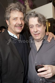 philip quast (georges) and roger allam (albin) attend the after party for quast and allam's first night in la cage aux folles at the playhouse theatre, london, england on 11th may 2009.