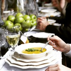 Delicious winter soup on our Bretagne white dinnerware.  Provincial Home Living