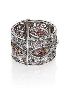 Konstantino - Artemis Rhodolite, 18K Yellow Gold & Sterling Silver Ornate Cuff Bracelet