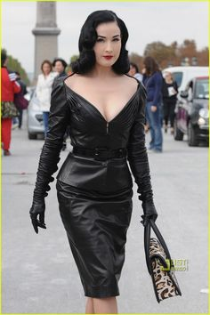 Dita Von Teese in Dior leather suit, dress....Love this dress!