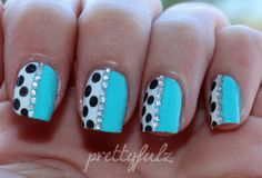 Blue polka dot nail art - cool!