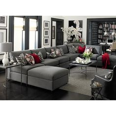 Original Beckham UShaped Sectional is part of Contemporary Living Room Red - Shown in Charcoal A transitional modular sectional with endless possibilities Beckham has limited skus but can transform into as large or small as nee Living Room Decor Grey Sofa, Grey And Red Living Room, Leather Living Room Set, Living Room Furniture, White Furniture, Living Rooms, Apartment Living, Furniture Ideas, U Shaped Couch Living Room