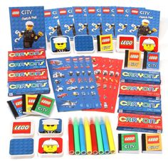 Lego City Party Supplies - 48 piece Mega Mix Value Activity Favour Pack Lego Party Games, Lego Party Favors, Party Activities, Birthday Party Favors, Birthday Ideas, Lego Parties, Lego City Birthday, 5th Birthday, Dinosaur Birthday