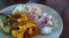 My #diet, brown rice, fish kerala curry and pomegranate raita