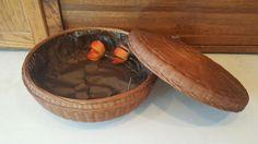 Vintage Round Covered Wicker Sewing Basket, Trinket Basket, Sewing Storage, Bread Basket, Farmhouse Kitchen, Modern Farmhouse, Kitchen Decor