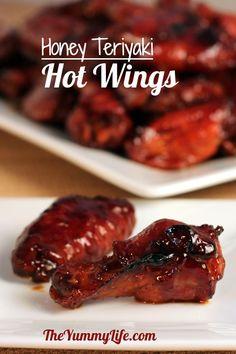 Honey Teriyaki Hot Wings. An easy, finger-lickin' crowd pleaser. www.theyummylife.com/honey_teriyaki_hot_wings