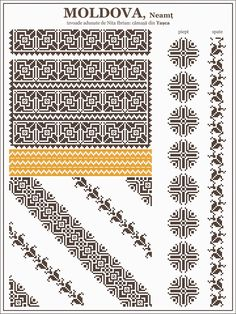 Ie romaneasca, MOLDOVA, Neamt - Tasca Folk Embroidery, Cross Stitch Embroidery, Embroidery Patterns, Quilt Patterns, Cross Stitch Borders, Cross Stitch Designs, Cross Stitching, Beading Patterns, Cross Stitch Patterns