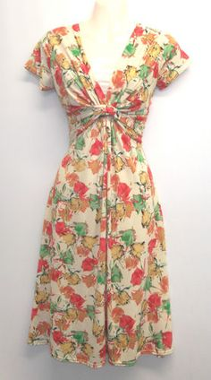 Floral WWII 1940's Vtg style Land Girl Swing Tea Dress UK16