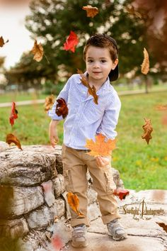 Fall photo shoot with 3 year old boy.