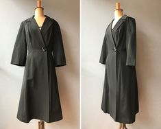Vintage 1950s Black Silk Faille Dress Coat / Long Coat   #etsy #clothing #women #jacket #pinuprockabilly #1950scoat #50scoat #eveningcoat #pinupcoat Black Silk, Black Satin, Black Button, Coat Dress, Silk Fabric, Duster Coat, Ready To Wear, Elegant, 1950s