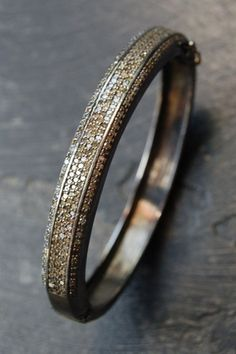 Pave diamond silver bangle*