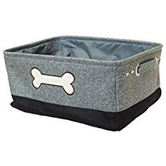 Two Tone Jute Dog Storage Bin with embroidery (Light Blue/ Black)