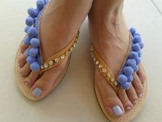 Greek Leather Shoes  Summer Pom pom Sandals Swarovski