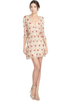 ARLIE CROSS FRONT DRESS in NUDE/RED by Alice + Olivia