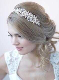 Gold Bridal Headband Floral Wedding Headband Bride by USABride