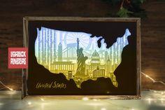 #151 United Stage Map- 3d paper cut light box templates (901055) | Paper Cutting | Design Bundles Diy Shadow Box, Shadow Box Frames, 3d Paper, Paper Gifts, Frame Crafts, Craft Frames, Paper Cut Design, 3d Craft, Paper Light