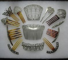 Collection of silver and aluminum combs from the Victorian period.