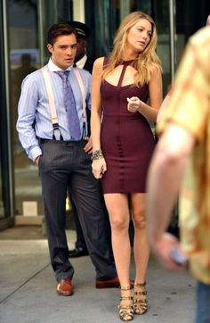 Blake Lively - Tight short dress on the Set of Gossip Girl, NYC - July 21