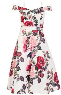 Cream And Red Floral Print Bardot Prom Dress