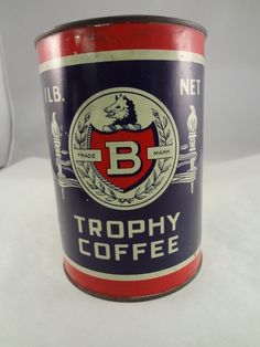 Trophy Brand Coffee Can Tin Vintage 1 lb Advertising 156 F   eBay