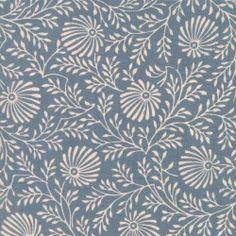 Tissu patchwork fleurs écrues fond bleu denim - Pondicherry de Moda