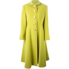Christian Dior Vintage Single Breasted Long Coat (€1.100) ❤ liked on Polyvore featuring outerwear, coats, green, single breasted coat, funnel neck coat, long sleeve coat, long coat and yellow coat
