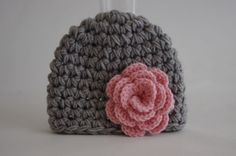 Baby  girl  Beanie gray and pink   flower  Hat by yagmurshop, $14.00