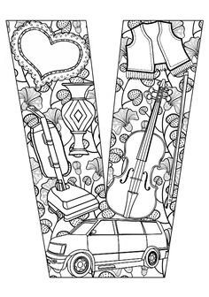 ➳➳➳☮American Hippie Art - Zentangle Coloring Page .. Lettering - Things that start with V